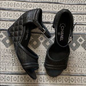 CHANEL Fantasy Lambskin Quilted Wedge Sandals 38